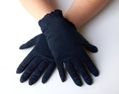 Vintage Navy Blue Gloves with Cuff Detail