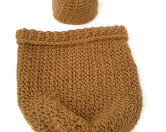 Baby bear hat and cocoon set