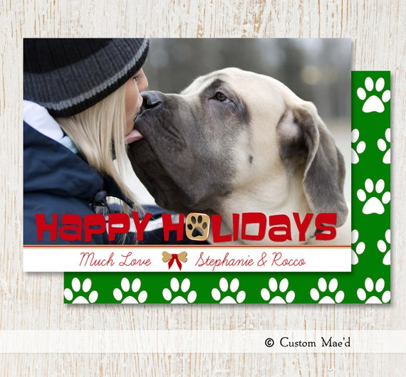 Christmas photo card dog man 39 s best friend for Best personalized christmas cards