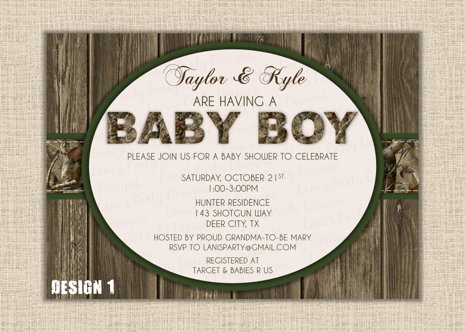 orange green camo boy baby shower invitation by maryspartydesigns