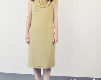 shirred front jersey dress, cowl neck, golden - yellow