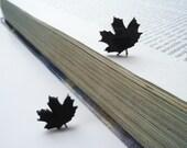 Laser Cut  Black Acrylic Cute Stud Earrings - Maple Leaf