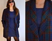 50% OFF Vintage 1970s Plaid Blazer / Seventies Dark Blue Green Red Tartan Wool Jacket / Double Collar Fancy Green Buttons Silk Lining