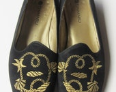 Vintage Loafer Flats Nautical Embroidery Design Size 7/37 Made In New Zealand