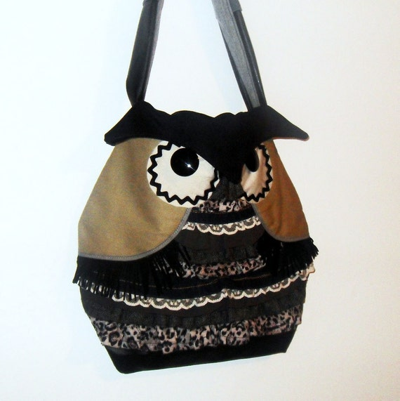 Owl Bag Tote Purse Shoulder Bag with Ruffles Handmade Upcycled OOAK Unique Gift for Owl Lovers