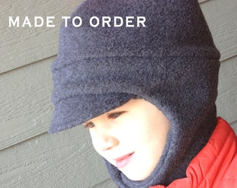 Unistyle Kids Hat, Fleece Hat Child, Chin Strap Hat, Fleece Trapper Hat, Childrens Hat, Winter Hat Kids, Child Fleece Hat, Child Strap Hat