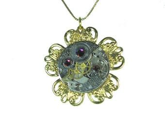 Golden Tick-Tock Flower Steampunk Necklace 2