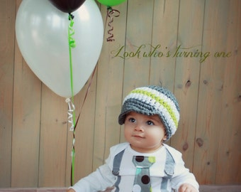 Baby Boy Tie Bodysuit or T-Shirt GET THE SET - Polka Dot Neck with Suspenders and Crocheted Hat, Father's Day Son