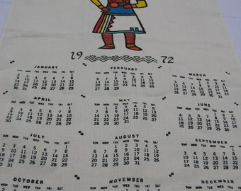Vintage 1972 Calendar Towel -- Designed by Bahah Zhonie / Frank Austin, Nizhonie, Inc., Kachina Figure Screen Printed on Linen