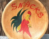 RESERVED FOR LISA Vintage kitsch wood hand painted snack bowl 1950s