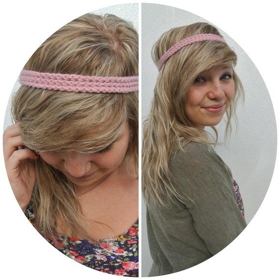 pink three strand crochet headband