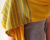 Fair Isle Scarf in Sunshine Gold -  Fine Knitted Shawl - Italian Merino wrap, Light Weight Summer