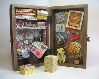 Sewing box, diorama sewing miniature, sewing dollhouse, hadmade miniature, sewing 1-12 scene - Dollhouses Miniature scale 1:12