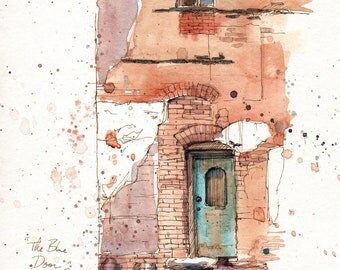 The Blue Door, Royal Hotel - print of original watercolor by Cathy Johnson