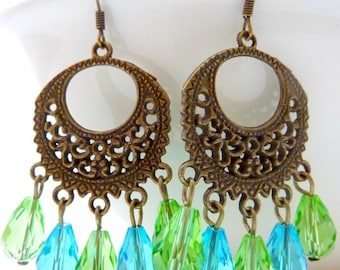 Chandelier earrings blue and green drop crystal dangle brass filigree vintage style