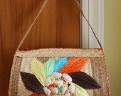 Straw Handbag With Shells and Floral Motif