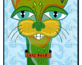 "Outsider Folk Art Cat Print, ""Cats Rule"", Original Sweet Ugly Cat Art Print, Comical Ugly Cute Outsider Cat Art by Windwalker Art"