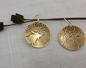 "brass moose earrings - wild flowers - forest - woodland animal - ""Vintage Moose in Jacobean Forest"" earrings - Ready to Ship"