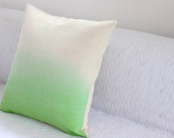 Green Dip Dye Cushion Cover / Ombre Pillow Cover - Hand Dyed