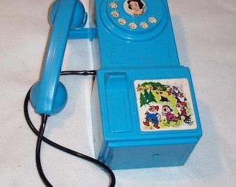 Rare Vintage 1960's Walt Disney Snow White Hasbro Blue TOY PAY PHONE Telephone