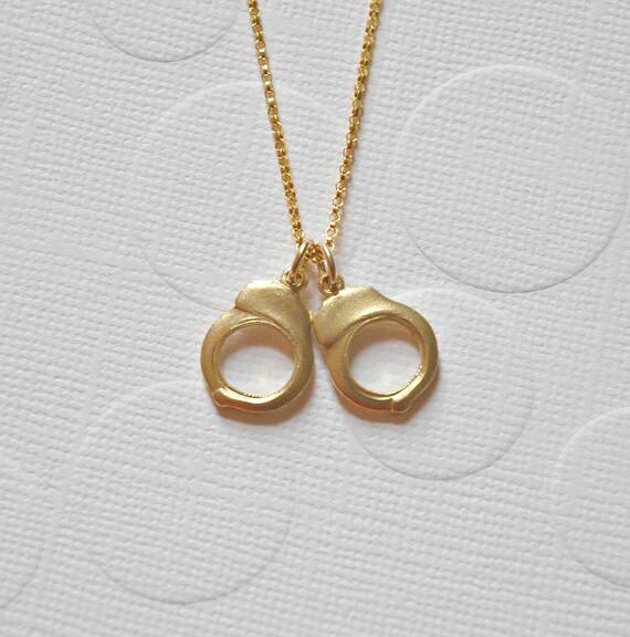 Handcuff Necklace Gold: Handcuffs Necklace Gold Handcuffs Pendant By Crashandduchess