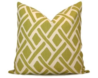 Trellis Decorative Pillow Cover in Green & White - Kravet Treads New Leaf - Accent Pillow - Throw Pillow