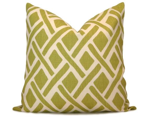 Etsy Green Throw Pillow : Items similar to Trellis Decorative Pillow Cover in Green & White - Kravet Treads New Leaf ...