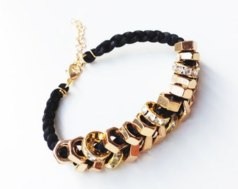 on sale! Arm candy - Gold nut beads and Black cord - woven bracelet