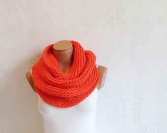 Knit infinity Scarf. Block Infinity Scarf. Loop Scarf, Circle Scarf, Neck Warmer. Orange Crochet Infinity