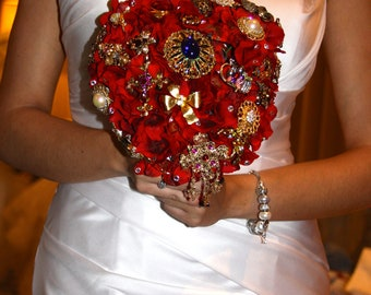 red  brooch bouquet with vintage brooches heart shaped bouquet ready to ship bouquet alternative heart shaped bouquet