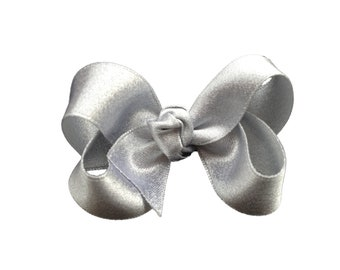 Silver hair bow - silver bow, 3 inch bow, boutique bow, girls hair bows, toddler bows, girls bows, satin bows, silver bows