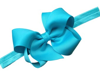 Turquoise baby bow headband  - turquoise baby headband, newborn headband, baby bow headband, baby girl headband, turquoise headband