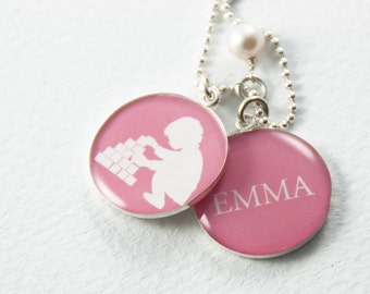 Mother's Necklace | Sterling Silver Keepsake Necklace | Personalized Mom Necklace | Mothers Day New Baby