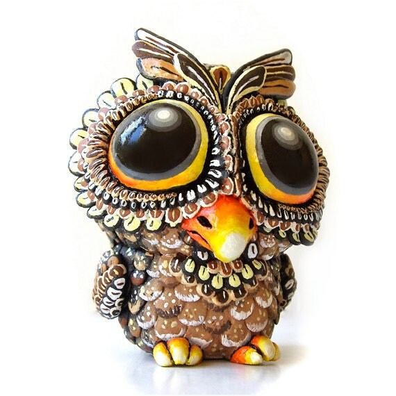Toddler Owl, Sculpture, Art Toy, Resin Figure, Brown & Orange