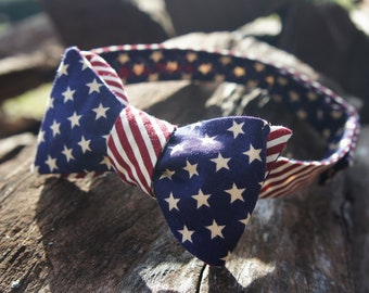 Stars and Stripes Reversible Self Tie Bow Tie