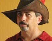 New Medieval Celtic Renaissance SCA Larp Leather Musketeer Hat with Fleur de Lys