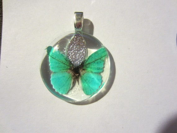 Turquoise Butterfly Glass Pendant
