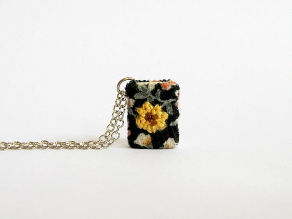 Sunflower miniature book necklace, french knots, embroidery, flower, gifts for her, gifts under 50 [RESTOCKED]