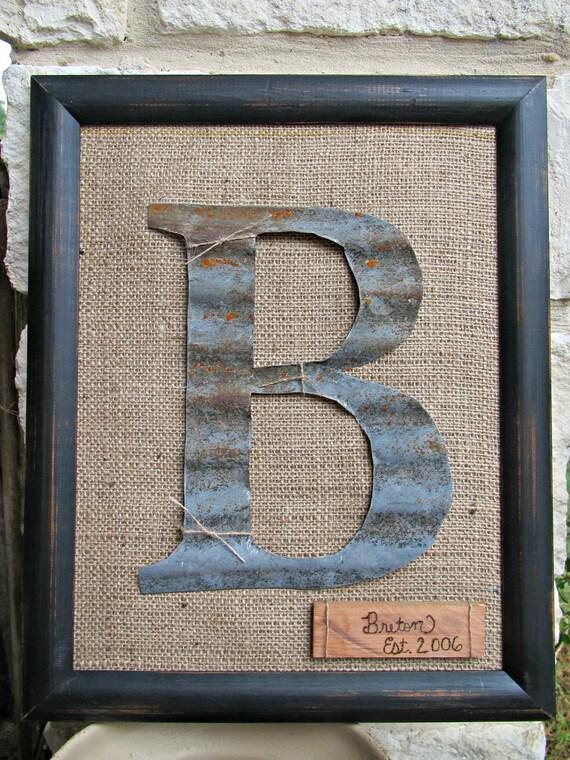 Framed barn tin initial for Old barn tin ideas