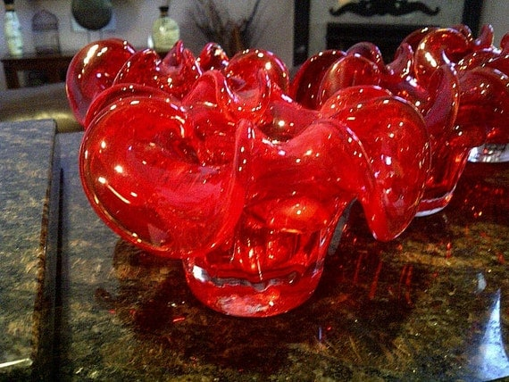 Striking RED Hand Blown Sculpted Glass Art
