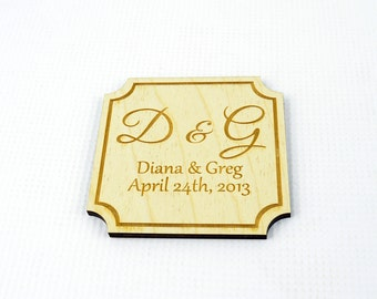 Set of 3 Personalized Wooden Wedding Coasters / Wedding Gift / Decorations
