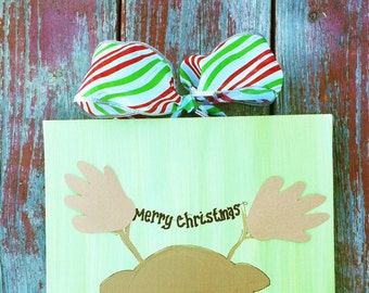 Reindeer Footprint Handprint Art 11x14