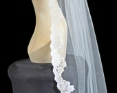 Lace Bridal Veil - Alencon Lace Ivory or White Bridal Veil (Himalia)