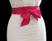 Women's Semi-Formal White Tank Dress with Fuchia Sash Size 8
