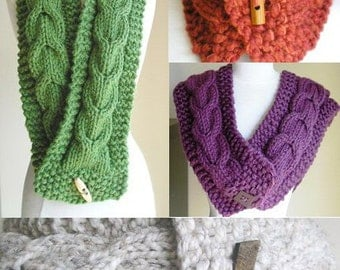 "Knitting Pattern -- Cabled Scarf and Cowl Combo -- ""Lucky Horseshoes"" -- Printed Pattern --Perfect for Making Last-Minute Gifts"