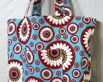 Simple handmade shopping bag - large tote bag - Blossom Medallions