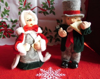 Vintage Christmas Ornaments - Paper Mache Man and Woman Carolers Made in Taiwan