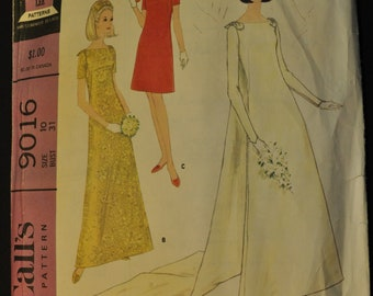 Bride's Dress with Detachable Train and Bridesmaid's Dress Short or Long Size 10 Bust 31 Vintage 1960s Sewing Pattern McCall's 9016