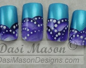 Teal with Violet Semi Circles Instant Acrylic Nail Set