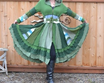 Hag Rags..... Upcycled Sweater Coat....Fields of Green.....hand beaded....L-XL...